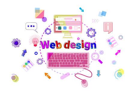 programming code: Web Design Concept Creative Process Software Development Programming Banner Vector Illustration