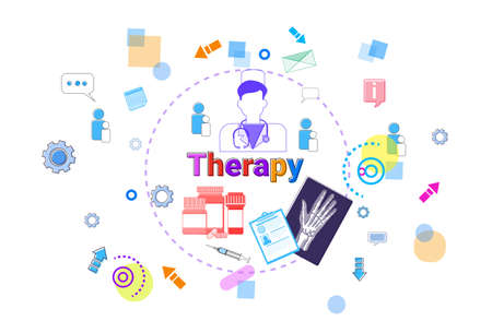 Therapy Healthcare Banner Medical Help, Medicine Treatment Concept Vector Illustration