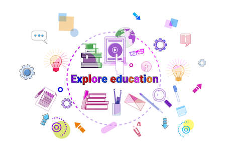 Explore Education Banner Online Study Elearning Concept Vector Illustration