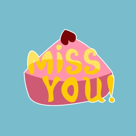 Miss You Sticker Social Media Network Message Badges Design Vector Illustration