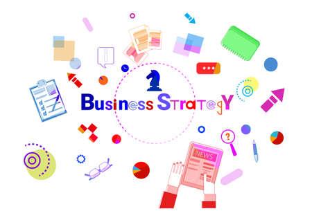 economic forecast: Business Strategy Development Concept Project Planning Banner Vector Illustration
