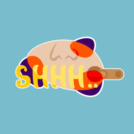 Shhh Sticker Social Media Network Message Badges Design Vector Illustration