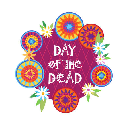 Day Of Dead Traditional Mexican Halloween Holiday Party Decoration Banner, Invitation, in Flat Illustration