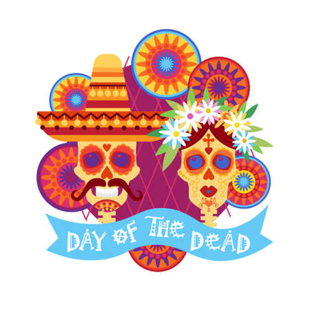 Skull Design; Day Of Dead Traditional Mexican Halloween Holiday Party Decoration Banner, Invitation, in Flat Illustration