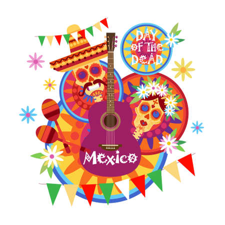 Skull day of dead concept traditional mexican halloween holiday traditional mexican halloween holiday party decoration banner invitation vector illustration stopboris Images