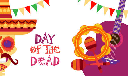 Skull day of dead concept. Traditional Mexican Halloween holiday party decoration banner invitation vector illustration.