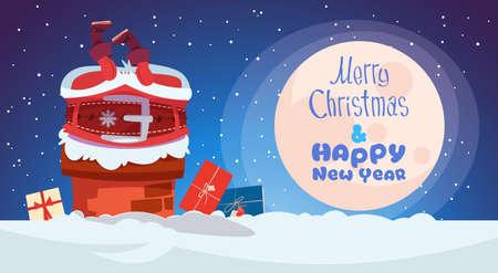 Kerstmis en Nieuwjaar wenskaart met Santa Claus geplakt in schoorsteen Winter vakantie Banner illustratie.