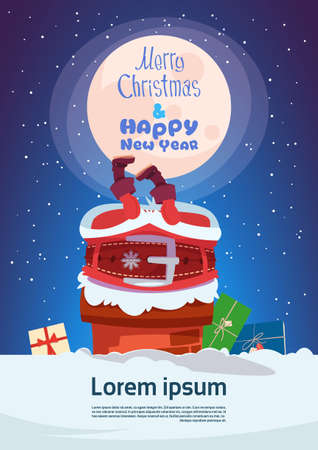 Merry Christmas And Happy New Year Greeting Card With Santa Claus Stuck In Chimney Winter Holiday Banner Flat Vector Illustration