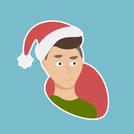 Man Wear Santa Hat Sticker Social Media Network New Year And Christmas Holiday Message Badges Design Vector Illustration