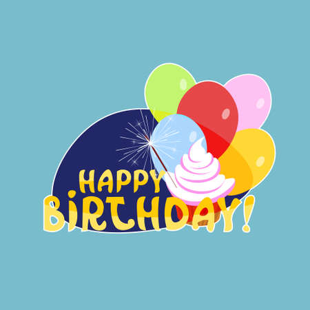 Happy Birthday Sticker Social Media Network Message Badges Design Vector Illustration Illustration