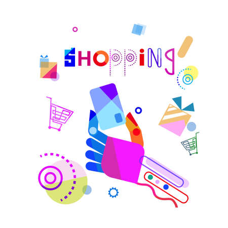 Shopping Banner Abstract Hand Holding Credit Card  Illustration.
