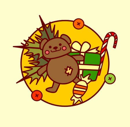 Cute Toys Icon Christmas And New Year Concept Winter Holidays Hand Drawn Collection Illustration.
