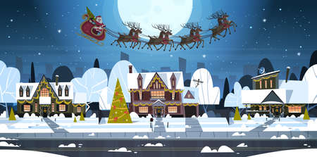 Santa Flying In Sledge With Reindeers In Sky Over Village Houses, Merry Christmas And Happy New Year Banner Winter Holidays Concept Flat Vector Illustration Illustration
