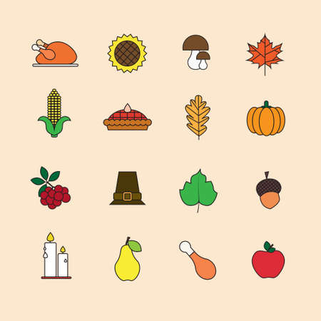 Autumn Icons Set Thanksgiving Day Autumn Traditional Harvest Holiday Concept Flat Vector Illustration