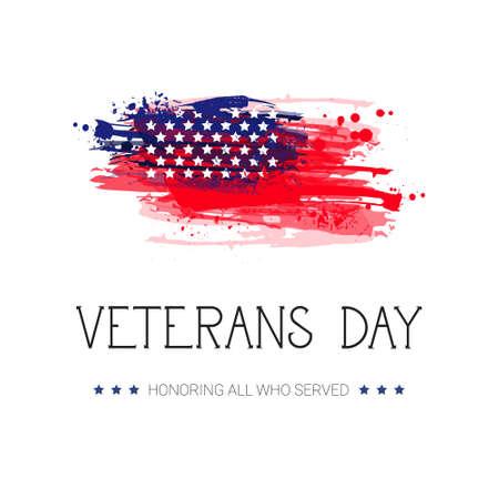 Veterans Day Celebration National American Holiday Banner Over Usa Flag Background Vector Illustration