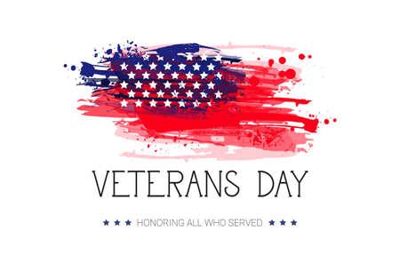 Célébration de la journée des anciens combattants Bannière de vacances nationale américaine sur drapeau Usa fond Illustration vectorielle