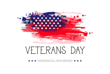 Veterans Day Celebration National American Holiday Banner Over Usa Flag Background Vector Illustration