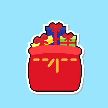 Red Santa Bag With Gift Boxes Icon Isolated Cute Christmas Sticker Concept Vector Illustration