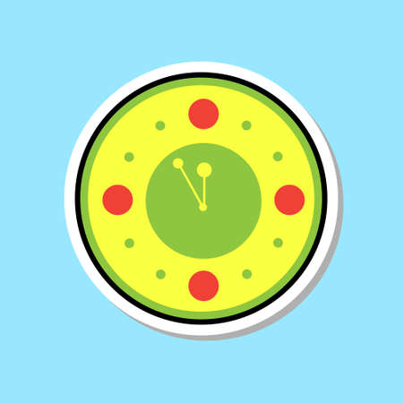 Clock Watch Showing Midnight Icon Christmas Decoration Sticker Concept Flat Vector Illustration