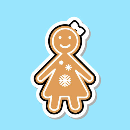 Ginger Bread Girl Icon Cute Christmas Cookie Sticker Isolated Flat Vector Illustration