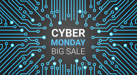 Cyber Monday Banner With Circuit Background, Big Technology Sale Online Shopping Concept Vector Illustration