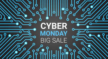 Insegna cyber di lunedì con il fondo del circuito, illustrazione online di vettore di concetto di acquisto di grande vendita di tecnologia