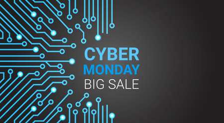 Cyber Monday Big Sale Poster Over Circuit Background, Special Discount For Technology Shopping Concept Vector Illustration Vettoriali
