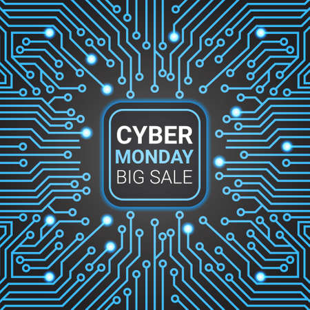 Cyber Monday Sale Poster Design Over Futuristic Lines Background Technology Shopping Icon Vector Illustration