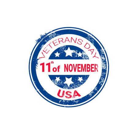 Veteran Day Grunge Rubber Stamp On White Background, Usa Holiday Retro Badge Vector Illustration Illustration