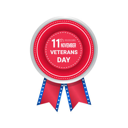 Veteran Day Medal Isolated On White Background Holiday Badge In Usa Flag Colors Vector Illustration Illustration