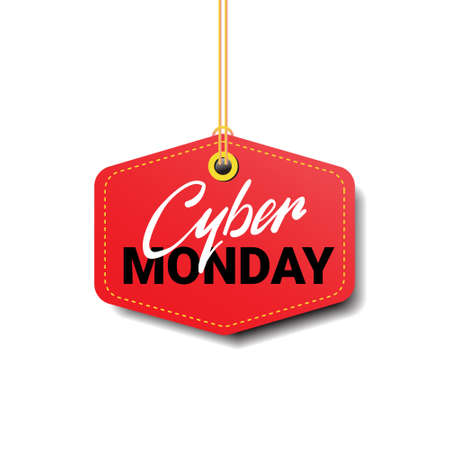 Cyber Monday Sale Tag Isolated Online Shopping Discount Design Flat Vector Illustration