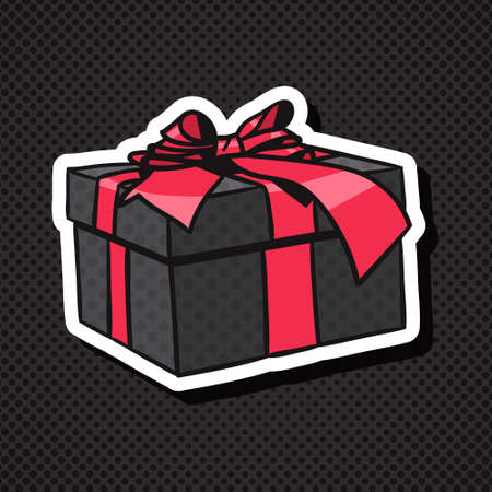 Realistic Gift Box Icon With Red Bow And Ribbon On Black Background Vector Illustration
