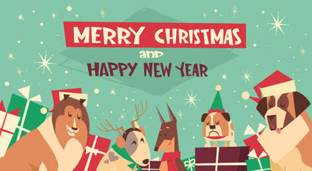 Dogs In Santa Hats On Merry Christmas And Happy New Year Greeting Card Holiday Poster Design In Flat Illustration Illustration