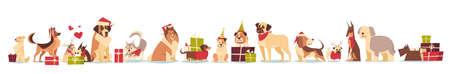 Groep van schattige honden in Santa hoeden symbool van 2018 Nieuwjaar en Kerstmis vakantie geïsoleerd op een witte achtergrond in vlakke afbeelding