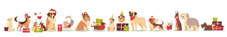 Group Of Cute Dogs In Santa Hats Symbol Of 2018 New Year And Christmas Holidays Isolated On White Background In Flat Illustration