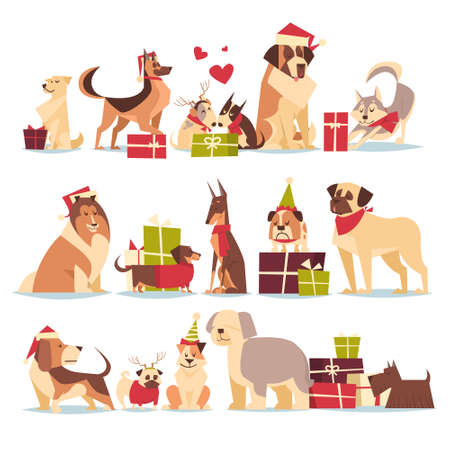 Group Of Cute Dogs In Santa Hats Symbol Of 2018 New Year And Christmas Holidays Isolated On White Background Flat Vector Illustration