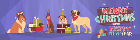 Merry Christmas And Happy New Year Horizontal Banner With Dogs Wearing Santa Hats Winter Holidays Greeting Card Flat Vector Illustration Illustration