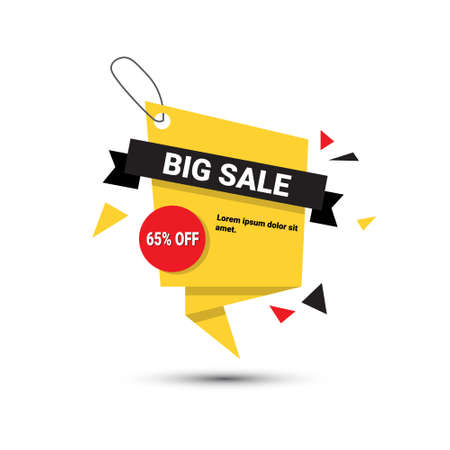 Big Sale Banner 65% Off Template Tag With Copy Space Isolated On White Background Vector Illustration.