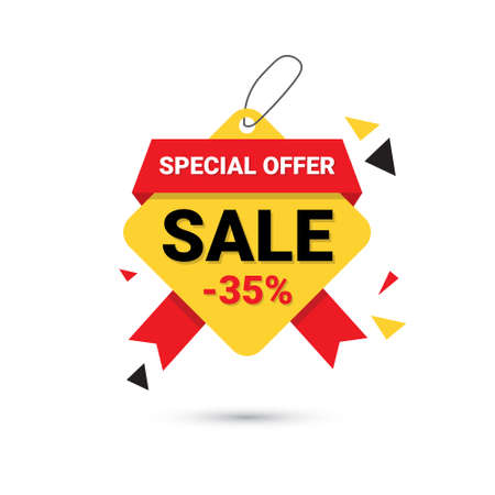 Big Sale Banner Special Offer 35% Template Tag Isolated On White Background Vector Illustration. Illustration