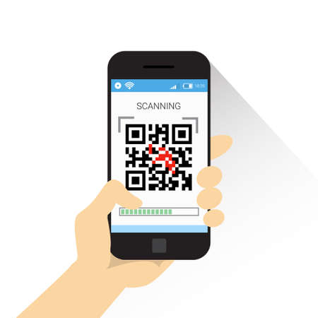 Hand Hold Smart Phone Scanning Qr Code Icon Barcode Scan With Telephone Vector Illustration