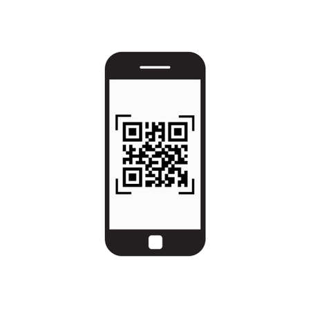 スマート フォン電話ベクトル図を Qr コード アイコン バーコード スキャンをスキャン
