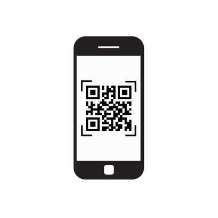 Smart phone code qr code qr icône du code à barres avec le téléphone illustration vectorielle Banque d'images - 88646989