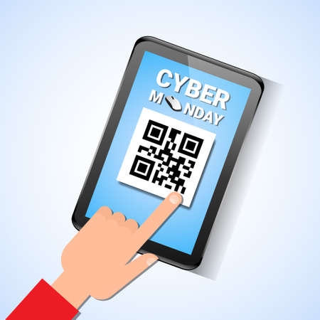 Hand Touch Digital Tablet With Qr Code On Screen Cyber Monday Sale Message Vector Illustration