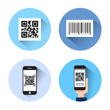 Set Of Icons With Bar Qr Code Scanning Smart Phones Isolated On White Background Vector Illustration
