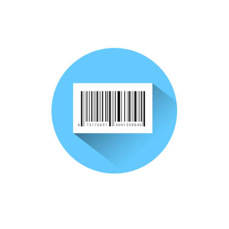 Sample Bar Code For Scanning Icon On Blue Round Background Vector Illustration Illustration