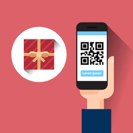 Hand Hold Smart Phone Scanning Qr Code With Gift Box Message Shopping Sale Concept Vector Illustration Çizim