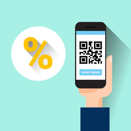 Hand Hold Smart Phone Scanning Qr Code With Percent Message Shopping Sale Concept Vector Illustration Illustration