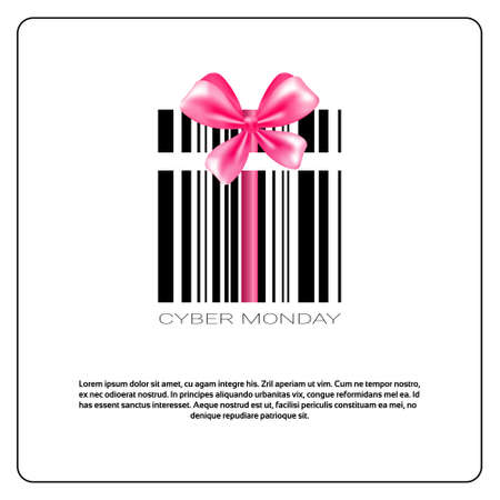 Cyber Monday Background With Bar Code And Pink Bow Sale Banner Design With Copy Space Vector Illustration Illustration