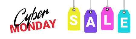 Cyber Monday poster sale text on shopping tags on white background. Discount horizontal banner design vector illustration.