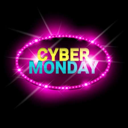 Cyber ??lundi vente néon bannière commerçante discount affiche. Illustration vectorielle de design brillant coloré.